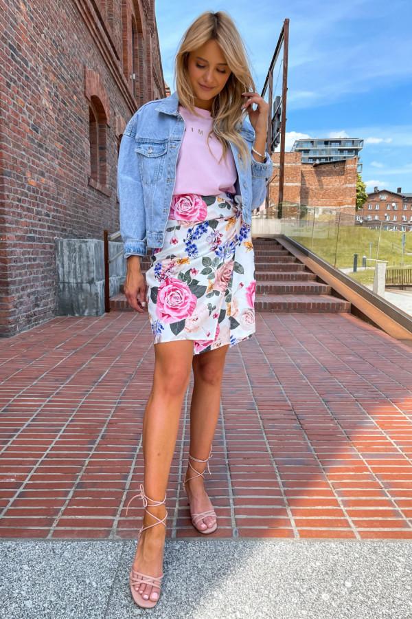 Spódniczka Abbi wiązana na boku śmietankowa w pastelowe kwiaty 10