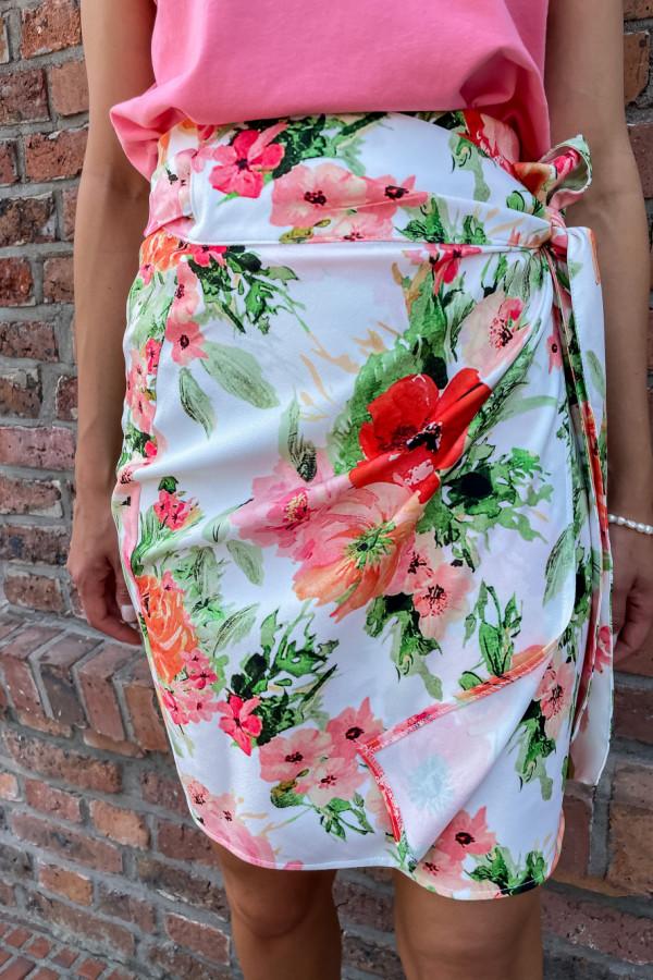 Sukienka Roma w czerwono-różowe kwiaty 1
