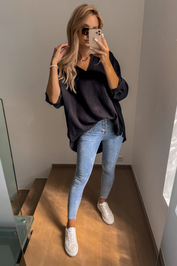 Koszula muślinowa czarna oversize 2