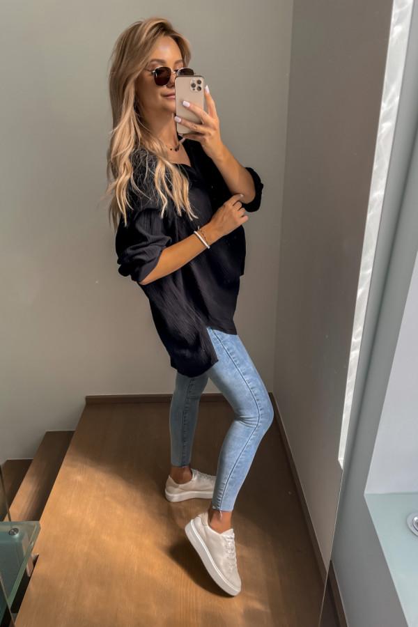 Koszula muślinowa czarna oversize 3