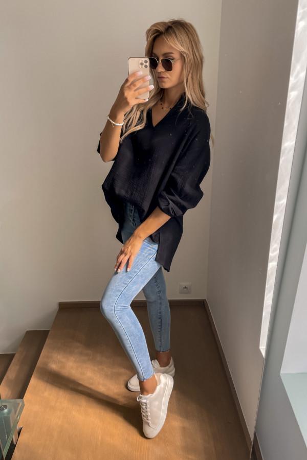 Koszula muślinowa czarna oversize 4