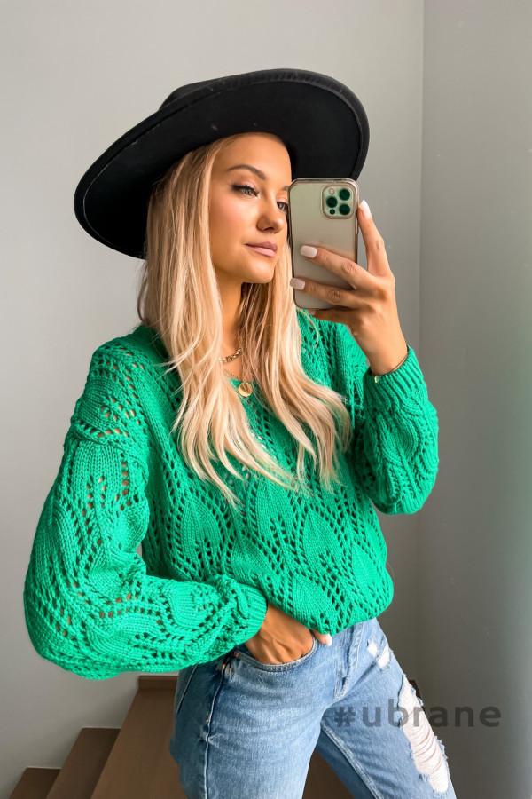 Sweter ażurkowy zieleń