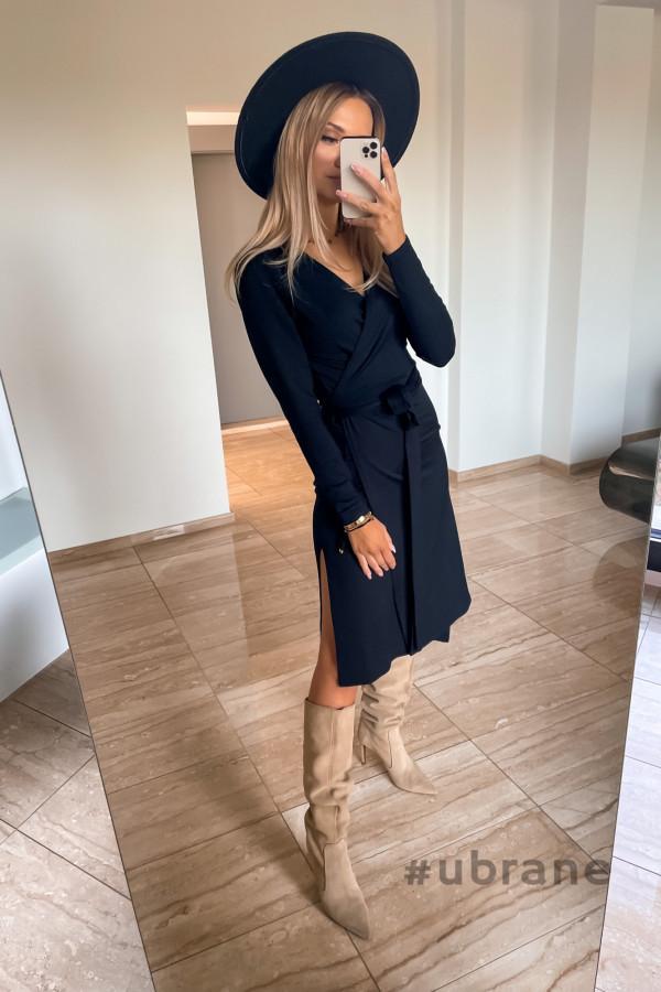 Sukienka Ateca czarna wiązana na boku 1