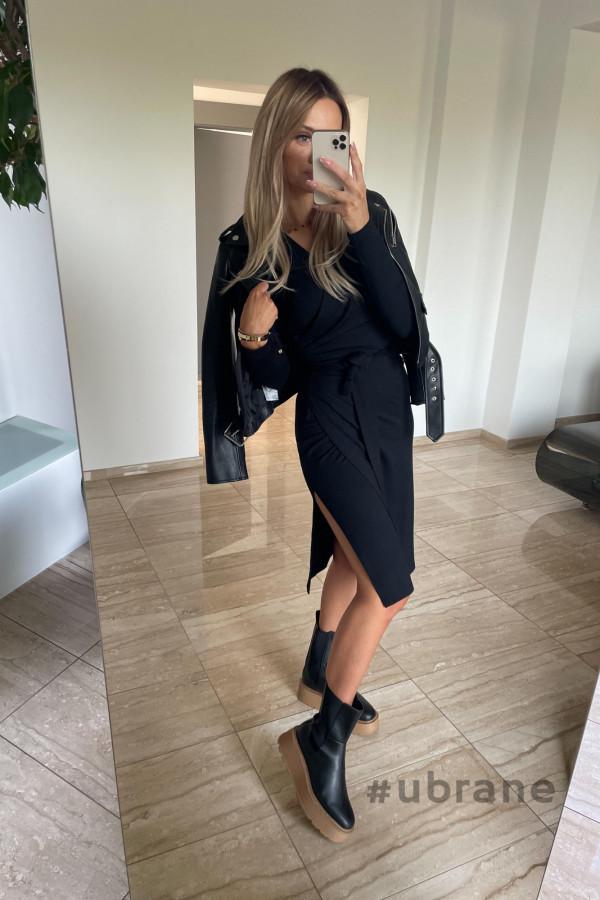 Sukienka Ateca czarna wiązana na boku 5