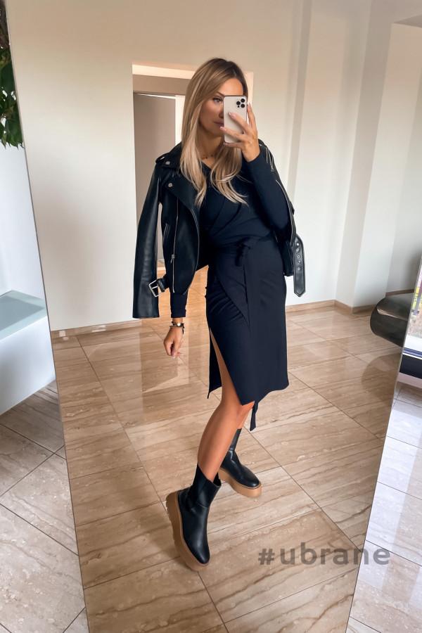 Sukienka Ateca czarna wiązana na boku 6