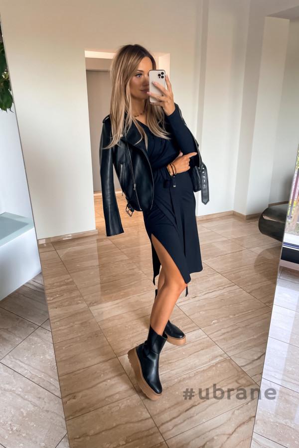 Sukienka Ateca czarna wiązana na boku 7