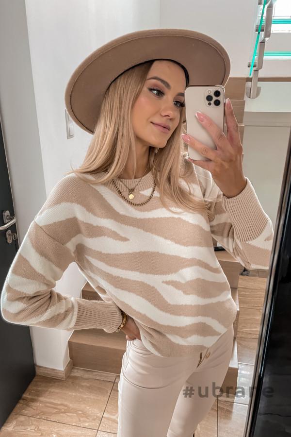 Sweter Premium Zebra beżowy