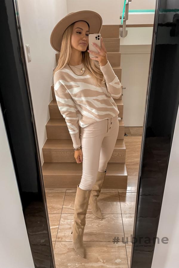 Sweter Premium Zebra beżowy 1