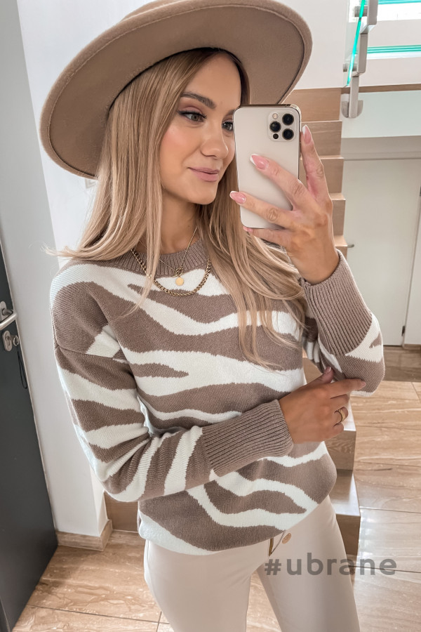 Sweter Premium Zebra mocca 3