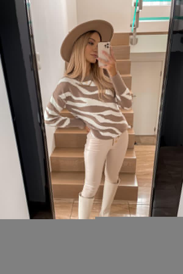 Sweter Premium Zebra mocca 5